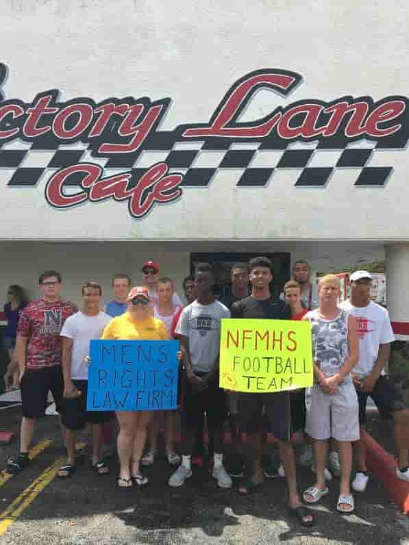 Men's Rights Law Firm and NFMHS Football Team at Charity Car Wash for Homeless Men